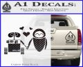 Wall e and Eve Love Decal Sticker Carbon FIber Black Vinyl 120x97