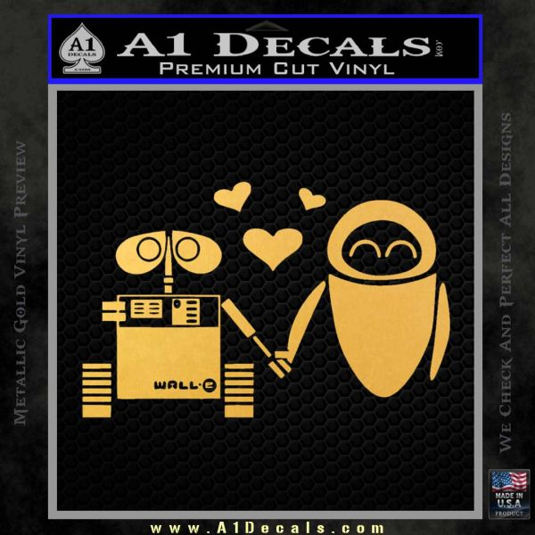 Wall e and Eve Love Decal Sticker Gold Vinyl