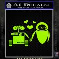 Wall e and Eve Love Decal Sticker Lime Green Vinyl 120x120