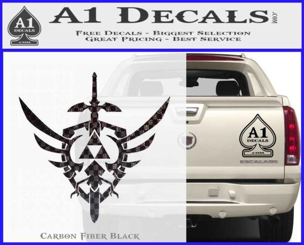 Zelda Skyward Sword Decal Sticker Carbon FIber Black Vinyl