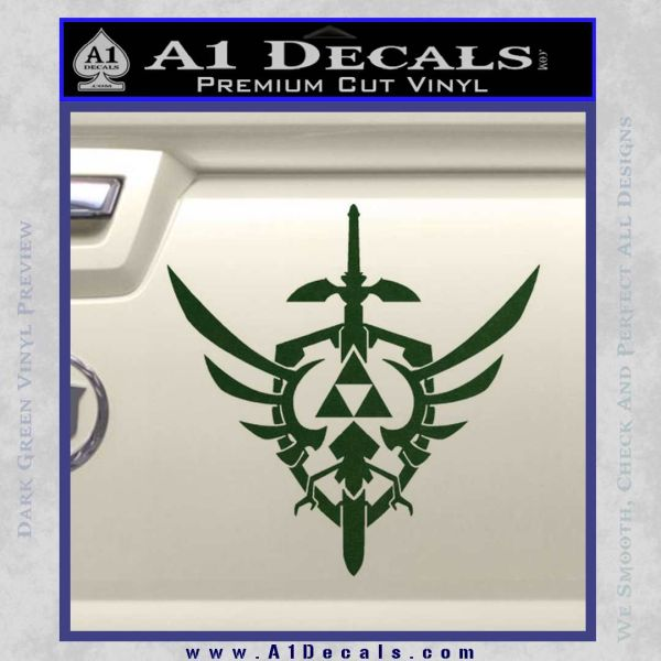 Zelda Skyward Sword Decal Sticker Dark Green Vinyl