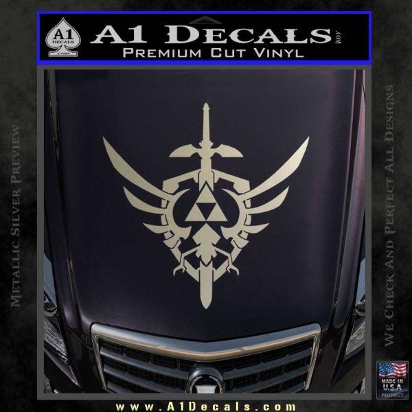 Zelda Skyward Sword Decal Sticker Metallic Silver Emblem