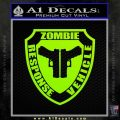 Zombie Response Vehicle Badge Decal Sticker Lime Green Vinyl 120x120