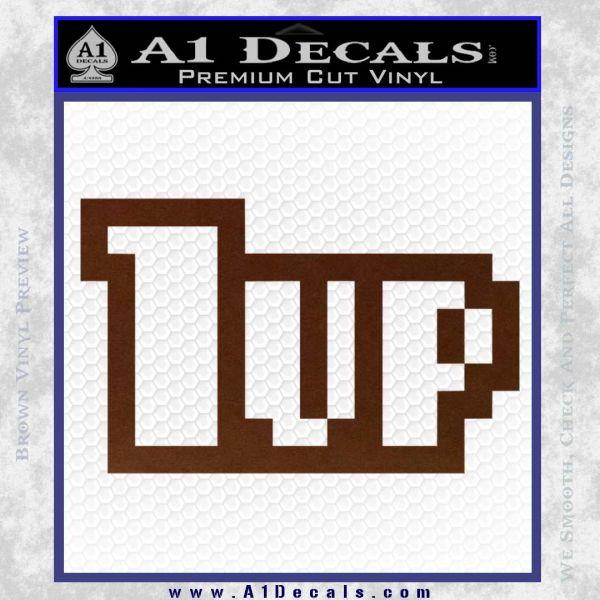 1 Up Mario Decal Sticker BROWN Vinyl