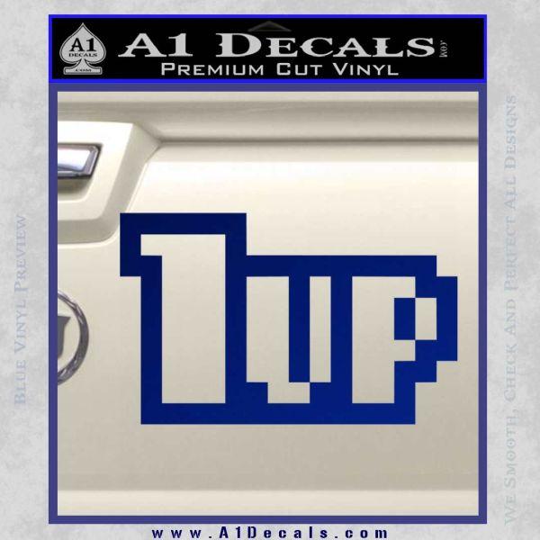 1 Up Mario Decal Sticker Blue Vinyl