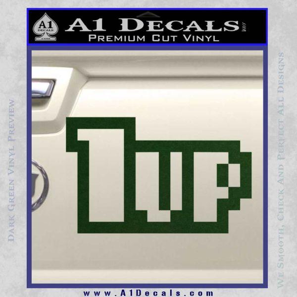 1 Up Mario Decal Sticker Dark Green Vinyl