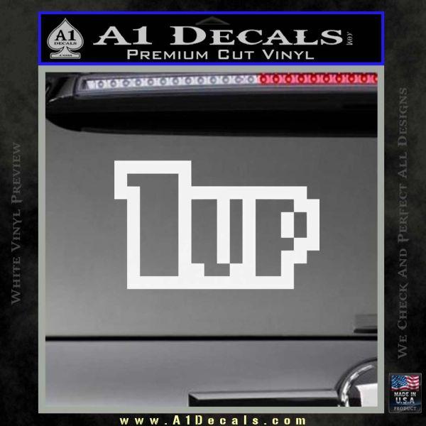 1 Up Mario Decal Sticker Gloss White Vinyl