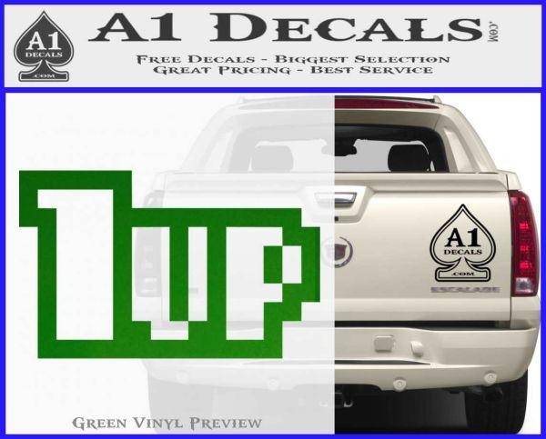1 Up Mario Decal Sticker Green Vinyl Logo