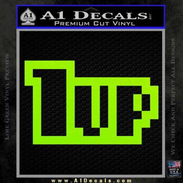 1 Up Mario Decal Sticker Lime Green Vinyl