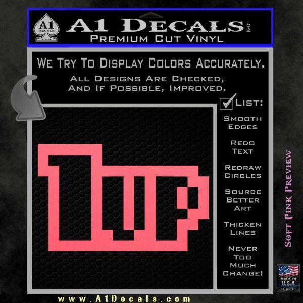 1 Up Mario Decal Sticker Pink Emblem