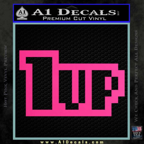 1 Up Mario Decal Sticker Pink Hot Vinyl