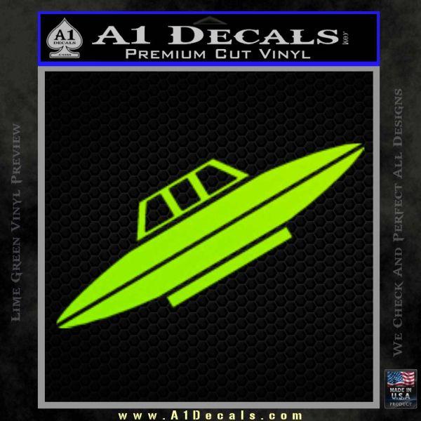 Alien UFO Spaceship Decal Sticker D4 Lime Green Vinyl