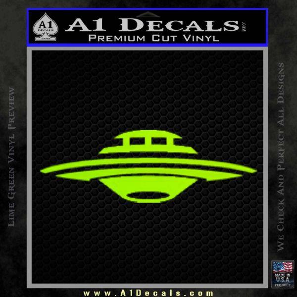 Alien UFO Spaceship Decal Sticker D5 Lime Green Vinyl