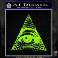 All Seeing Eye Decal Sticker Lime Green Vinyl 120x120
