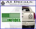 American Infidel Flag D2 Decal Sticker Green Vinyl Logo 120x97
