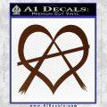 Anarchy Heart Decal Sticker BROWN Vinyl 120x120