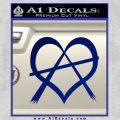 Anarchy Heart Decal Sticker Blue Vinyl 120x120