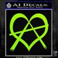 Anarchy Heart Decal Sticker Lime Green Vinyl 120x120