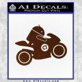 Android Riding Motorcycle Decal Sticker BROWN Vinyl 120x120