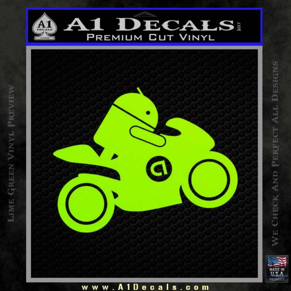Android Riding Motorcycle Decal Sticker Lime Green Vinyl