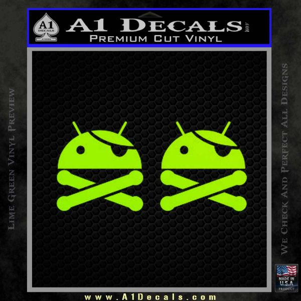 Android Root Super User Decal Sticker 2 Pack Lime Green Vinyl