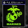 Marines Decal Sticker Full Lime Green Vinyl 120x120