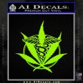 Medical Marijuana Pot Weed D1 Decal Sticker Lime Green Vinyl 120x120