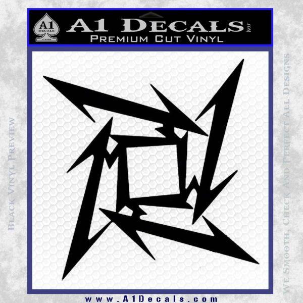 Metallica Ninja Star Decal Sticker Black Vinyl