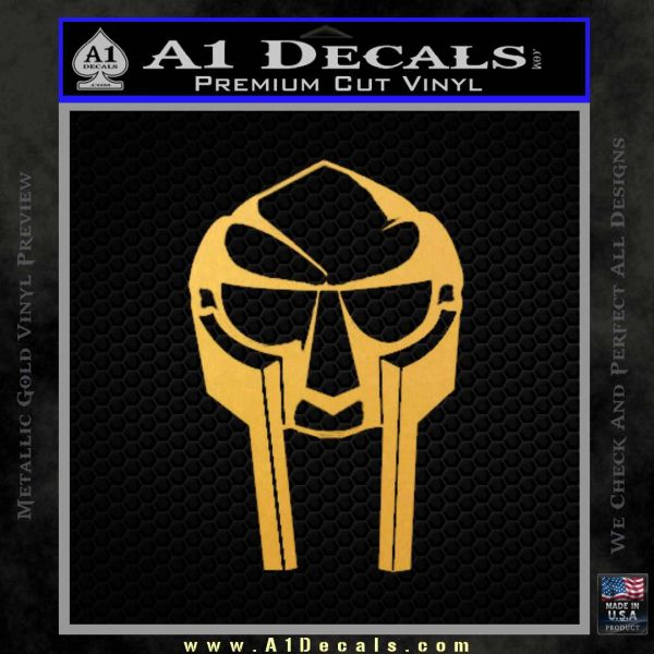 Mf Doom Mask D1 Decal Sticker Gold Vinyl