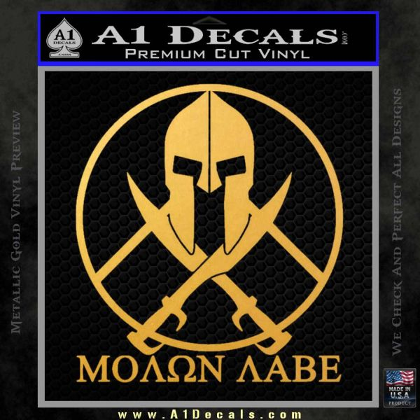 Molon Labe C1 Decal Sticker Gold Vinyl