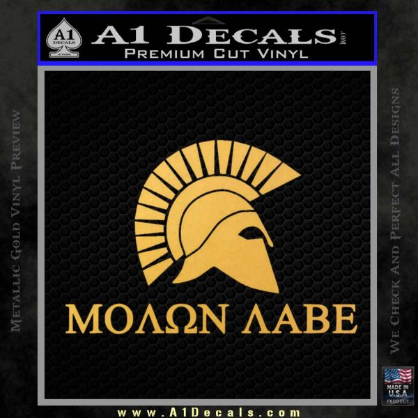 Molon Labe DO Decal Sticker Gold Vinyl