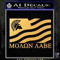 Molon Labe Flag Decal Sticker Gold Vinyl 120x120