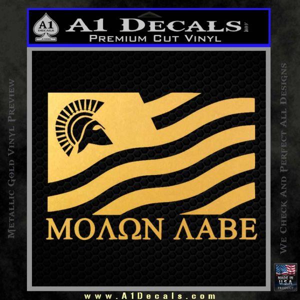 Molon Labe Flag Decal Sticker Gold Vinyl