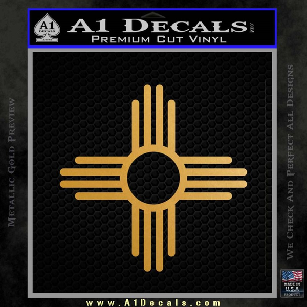 New Mexico Zia Symbol Decal Sticker Gold Metallic Vinyl