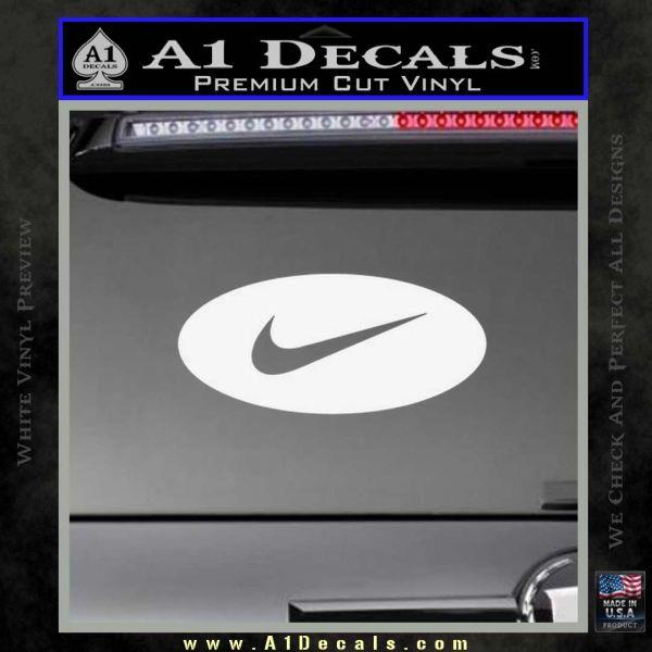 Nike Swoosh Decal Sticker Oval Gloss White Vinyl