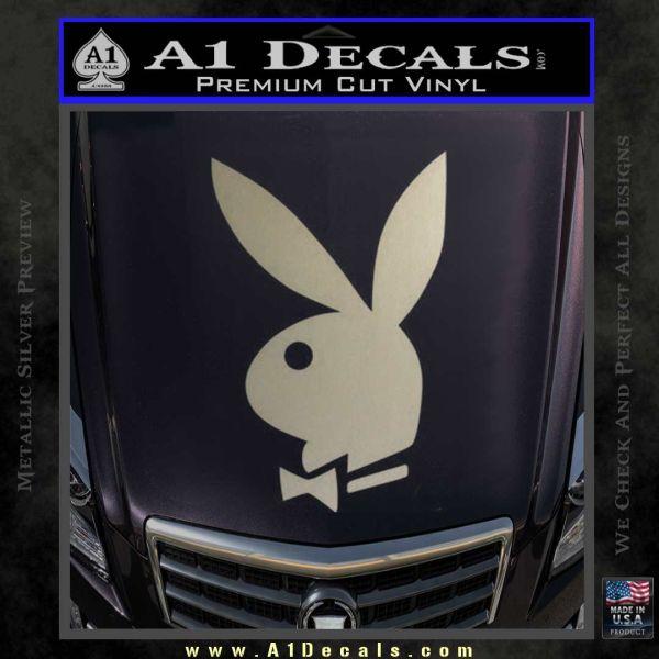 Playboy Bunny Head Decal Sticker Metallic Silver Emblem