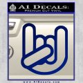Rocker Fist Decal Sticker Rock Out Blue Vinyl 120x120