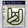 Rocker Fist Decal Sticker Rock Out Dark Green Vinyl 120x120