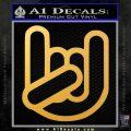 Rocker Fist Decal Sticker Rock Out Gold Vinyl 120x120