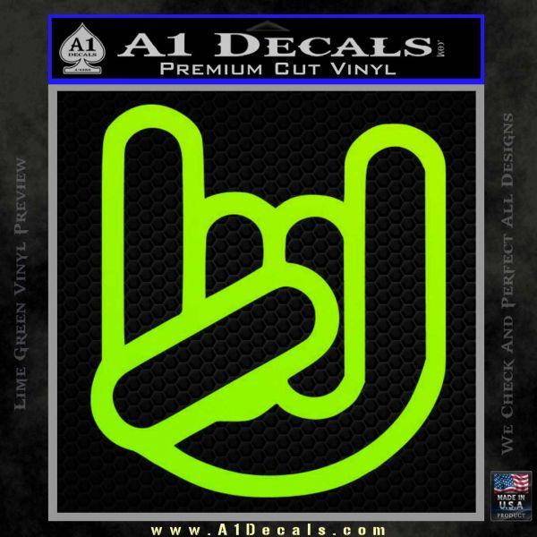 Rocker Fist Decal Sticker Rock Out Lime Green Vinyl