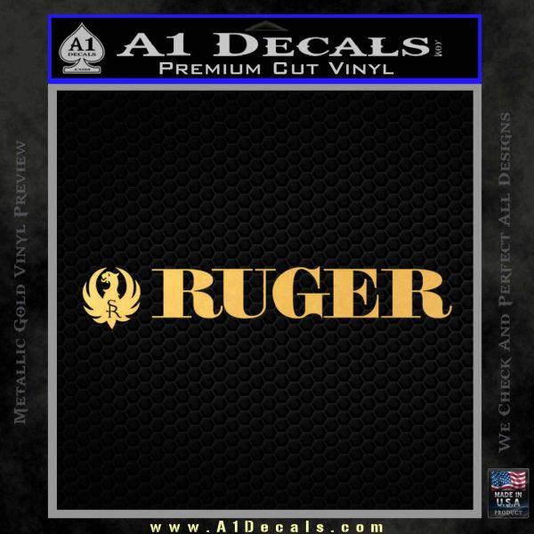 Ruger Decal Sticker Wide Gold Vinyl
