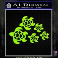 Sea Turtle Family Decal Sticker Lime Green Vinyl 120x120