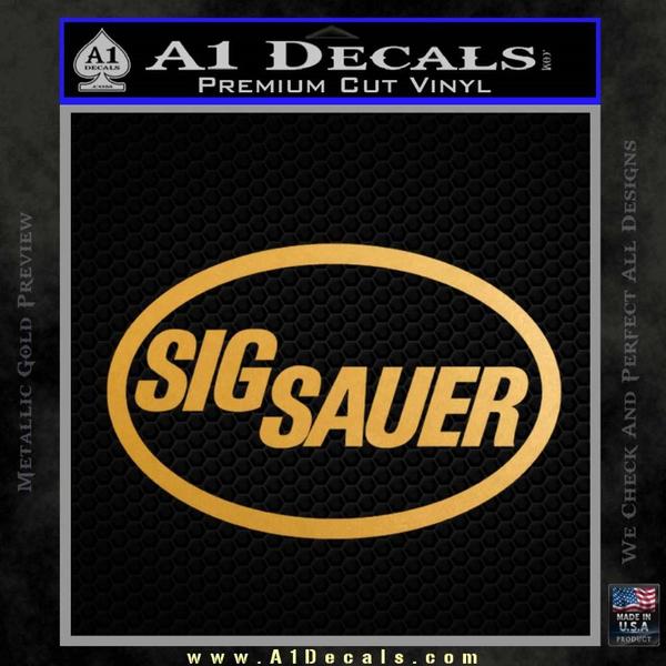 Sig Sauer Decal Sticker Oval Gold Metallic Vinyl