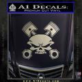 Skull And Pistons Decal Sticker JDM Metallic Silver Vinyl 120x120