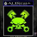 Skull And Pistons Decal Sticker JDM Neon Green Vinyl 120x120