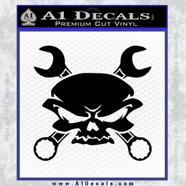 Skull And Wrenches Decal Sticker Black Vinyl