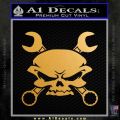 Skull And Wrenches Decal Sticker Gold Metallic Vinyl 120x120
