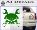 Skull And Wrenches Decal Sticker Green Vinyl 120x97