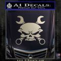 Skull And Wrenches Decal Sticker Metallic Silver Vinyl 120x120