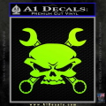 Skull And Wrenches Decal Sticker Neon Green Vinyl 120x120